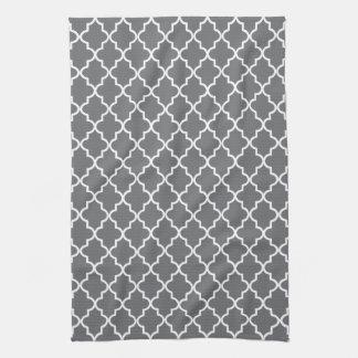 Modern Dark Gray and White Moroccan Quatrefoil Tea Towel