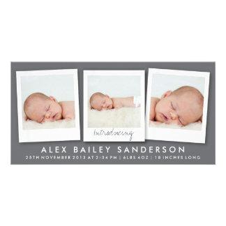 Modern Dark Gray Birth Announcement with 3 Photos Card