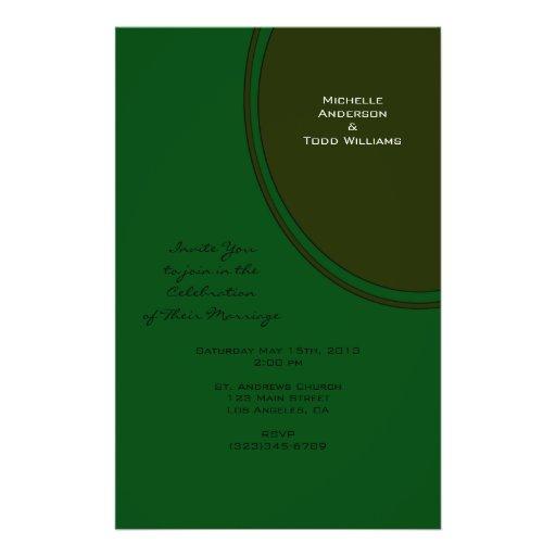 Modern Dark Green Circle Wedding Flyer