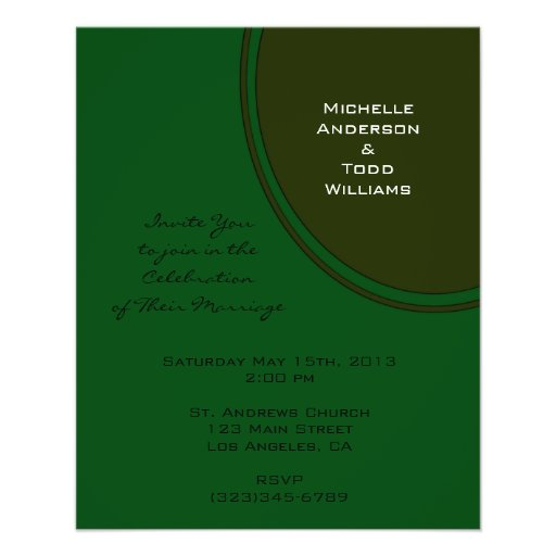 Modern Dark Green Circle Wedding Custom Flyer