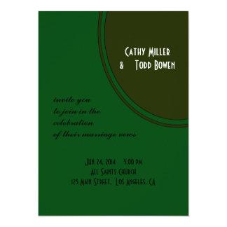 Modern Dark Green Circle Wedding 5.5x7.5 Paper Invitation Card