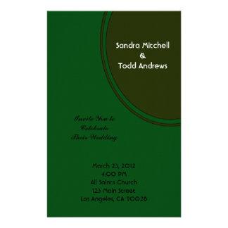 Modern Dark Green Circle Wedding Personalized Stationery
