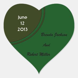 Modern Dark Green Circle Wedding Heart Sticker