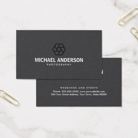 Modern, dark grey photography business card