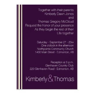 Modern Dark Plum with Stripes Invitation