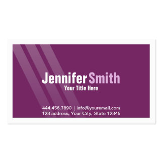 Modern Dark Purple With Stripes and frame Pack Of Standard Business Cards