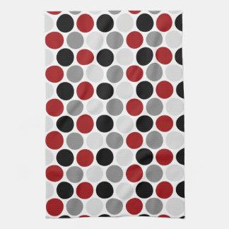 Modern Dark Red Gray Black Circles Kitchen Towels