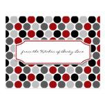Modern Dark Red Grey Black Circles Recipe Cards