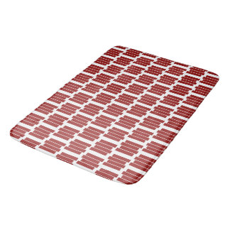 Modern Dark Red Rectangle Geometric Pattern Bath Mat