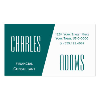 Modern Dark Teal Green and White Divided Design Pack Of Standard Business Cards