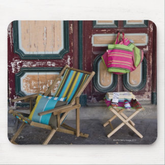 Modern day deck chairs and beach bags for sale mouse pad