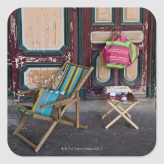 Modern day deck chairs and beach bags for sale stickers