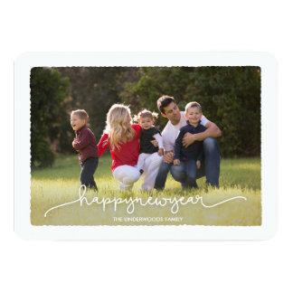 Modern Deckle Happy New Year Photo Card 13 Cm X 18 Cm Invitation Card