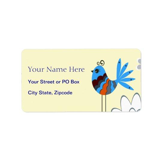 Modern Decorative Blue Birds Label