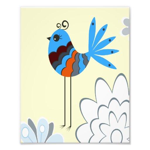 Modern Decorative Blue Birds Photographic Print