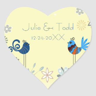 Modern Decorative Blue Birds Wedding Save The Date Heart Sticker