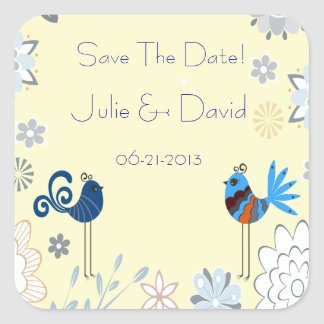 Modern Decorative Blue Birds Wedding Save The Date Square Sticker