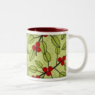 Modern Decorative Christmas Green Red Berries Two-Tone Coffee Mug