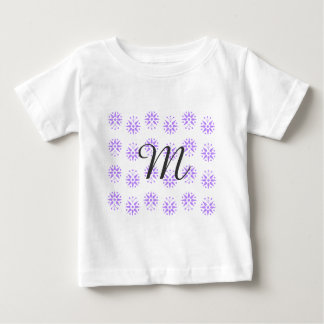 Modern, delicate lilac floral pattern print baby T-Shirt