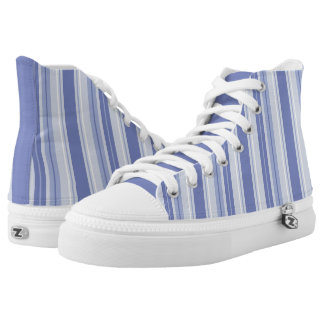 Modern Denim Blue Striped Printed Shoes