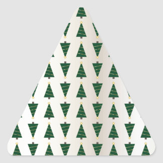 Modern Design Bright Christmas Trees in Soft Gold Triangle Sticker