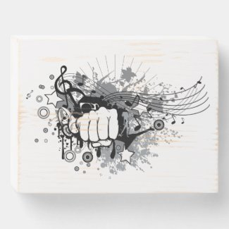 Modern design,fist and music on  wooden box sign