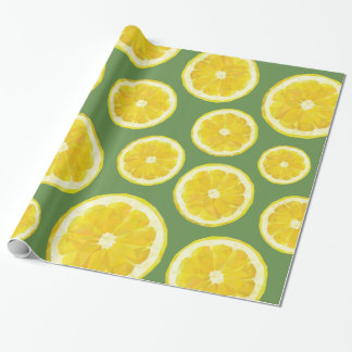 Modern design lemon slice in green background wrapping paper