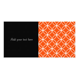 Modern Design Overlapping Circles in Orange Customized Photo Card