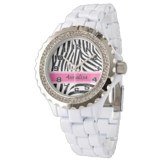 Modern designer personalized zebra stripe Ladies Watches