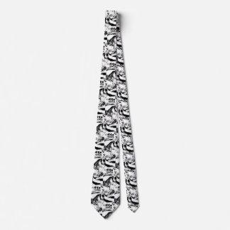 Modern designer tie black and white swirls