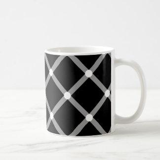 Modern diagonal black and white optical pattern coffee mugs