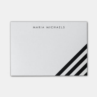 Modern Diagonal Black & White Stripe Post-it Notes
