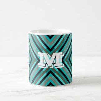 Modern Diagonal Checker Shades of Green, Monogram Coffee Mug