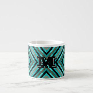 Modern Diagonal Checker Shades of Green, Monogram Espresso Cup