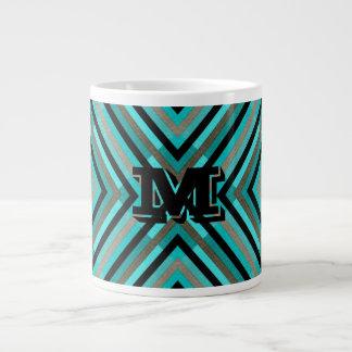 Modern Diagonal Checker Shades of Green, Monogram Large Coffee Mug