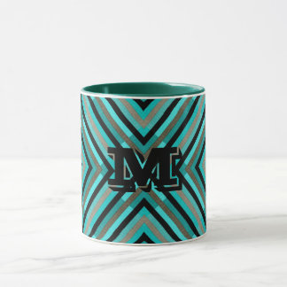 Modern Diagonal Checker Shades of Green, Monogram Mug
