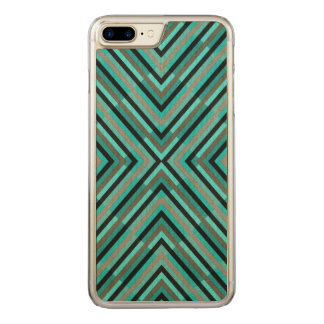 Modern Diagonal Checkered Shades of Green Pattern Carved iPhone 7 Plus Case