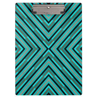 Modern Diagonal Checkered Shades of Green Pattern Clipboards