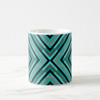 Modern Diagonal Checkered Shades of Green Pattern Coffee Mug