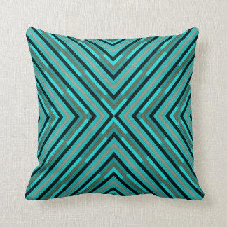 Modern Diagonal Checkered Shades of Green Pattern Cushion
