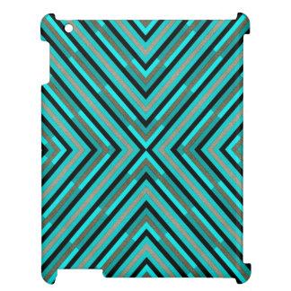 Modern Diagonal Checkered Shades of Green Pattern iPad Case