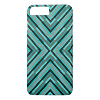 Modern Diagonal Checkered Shades of Green Pattern iPhone 8 Plus/7 Plus Case