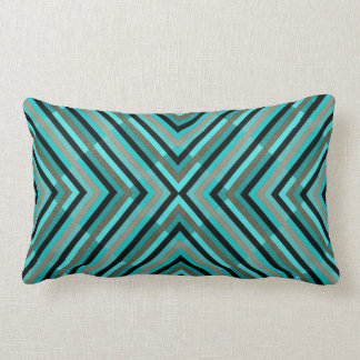 Modern Diagonal Checkered Shades of Green Pattern Lumbar Cushion