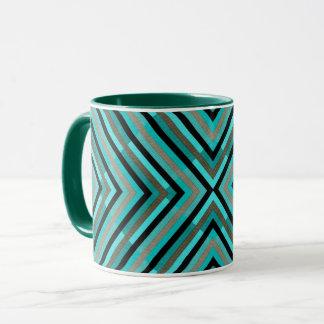 Modern Diagonal Checkered Shades of Green Pattern Mug