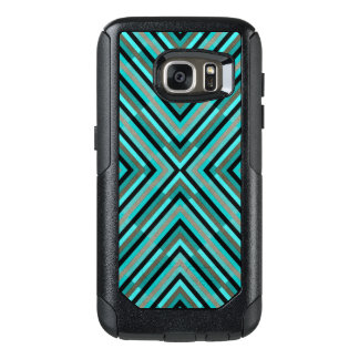 Modern Diagonal Checkered Shades of Green Pattern OtterBox Samsung Galaxy S7 Case
