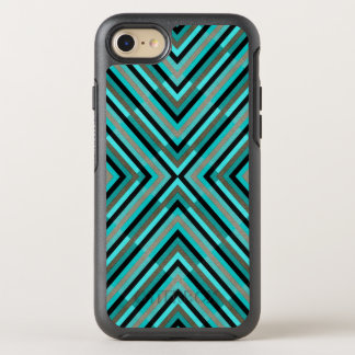 Modern Diagonal Checkered Shades of Green Pattern OtterBox Symmetry iPhone 8/7 Case