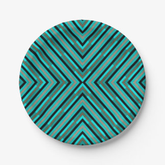 Modern Diagonal Checkered Shades of Green Pattern Paper Plate