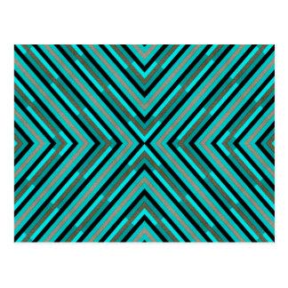 Modern Diagonal Checkered Shades of Green Pattern Postcard