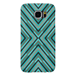 Modern Diagonal Checkered Shades of Green Pattern Samsung Galaxy S6 Cases