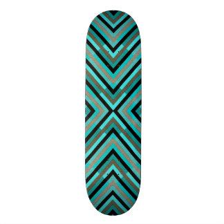 Modern Diagonal Checkered Shades of Green Pattern Skate Board